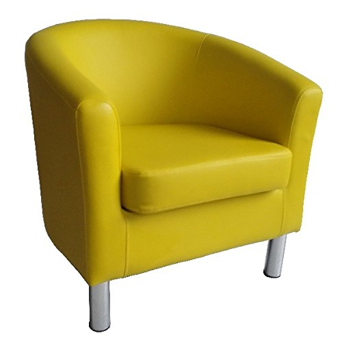 Designer Leather Tub Chair Armchair for Dining Living Room Office Reception (Yellow)
