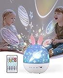ShinePick Proyector Estrellas Infantil, 360° Rotación LED Músic Proyector Bebe Lampara con Control Remoto, con 6 Películas de Proyección, Diseño de Temporizador, para Bebés, Niños, Dormitorio, Hogar