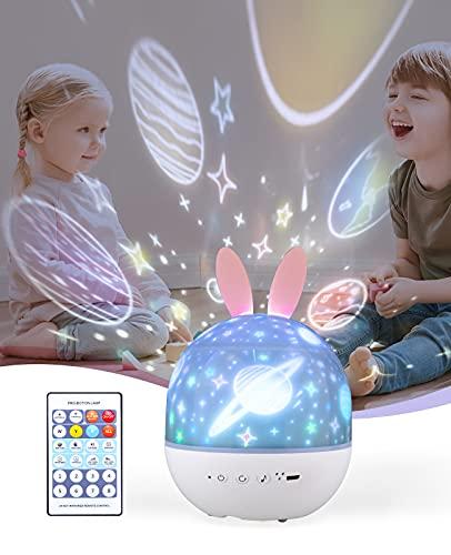 ShinePick Veilleuse Bébé Etoile, Planetarium Projecteur LED Veilleuse Enfant Lampe Musicale et Lumineuse 360° Rotation, 8 Chansons, 6 Films de Projection, 4 Couleurs Modes pour Anniversaire Noël