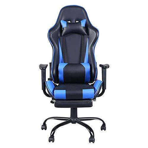 Gaming-Stühle Ergonomischer Racing Style Gaming Chair Hoher Rückenlehne Computer Hocker Bürostühl mit Kopfstütze Lendenkissen Armlehne Fußstütze Blau