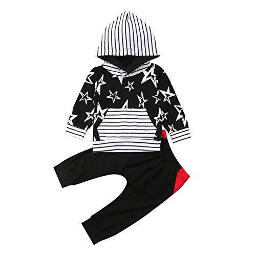 Baywell Baywell Baby Jungen Mädchen Kleidung Outfits Sets Neugeborene Säugling Kleinkind Langarm Streifen Bedruckte Pullover Mit Kapuze Tops T-Shirt + Hosen Passende Kleidung Anzug