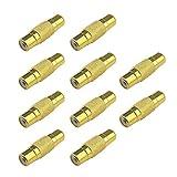 10 conectores RCA hembra a RCA hembra, chapados en oro, alargador de audio y vídeo para la mayoría de dispositivos de audio domésticos
