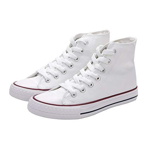 CXWLK High-Top Weiße Einfarbige Canvas-Schuhe Herren Slip Auf Leinwand Sommer Schuhe Herren Slip-On Sneakers Canvas Slipper 38