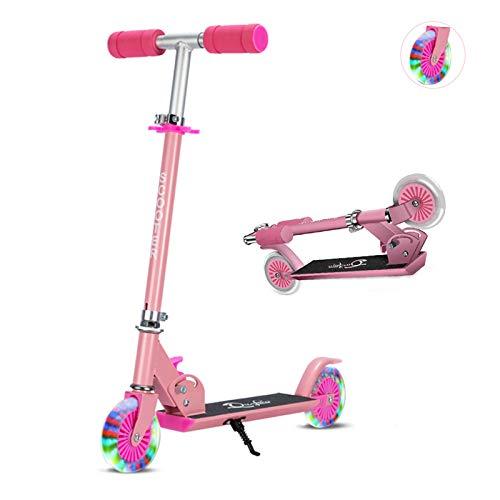 Sumeber Scooter Roller Kinder Klappbar Kick Scooter mit LED Light Up PU-Rädern Höhenverstellbarer Kinderroller Cityroller für Mädchen und Jungen als Geburtstagsgeschenk (Pink)