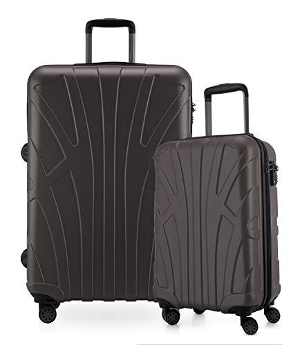 Suitline - 2-teiliges Koffer Set - Leichtes Handgepäck 55cm für alle Airlines + Check-In Reisekoffer 75cm, 4 Rollen, TSA Schloss, Titan