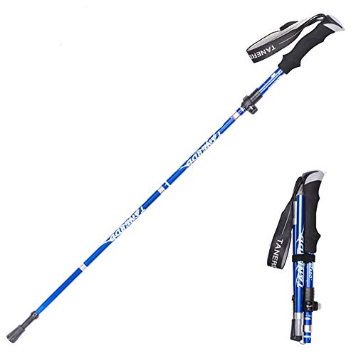 Aprllolg Bastón de Senderismo, Bastón de Trekking Plegable Ajustable 7075 Aleación de Aluminio, Anti-Choque Bastones de Marcha para Alpinismo Trail Viaje Mochilero (Azul)