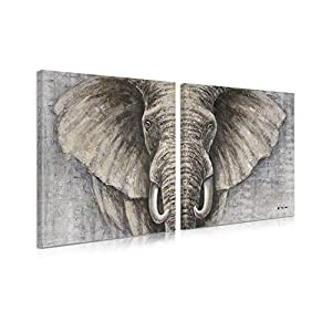 "B BLINGBLING Elephant Wall Art Bathroom Decor: African Animals Canvas Artwork Painting Print Decor 2 Sets with Frame (24""x24""x2Panels)"