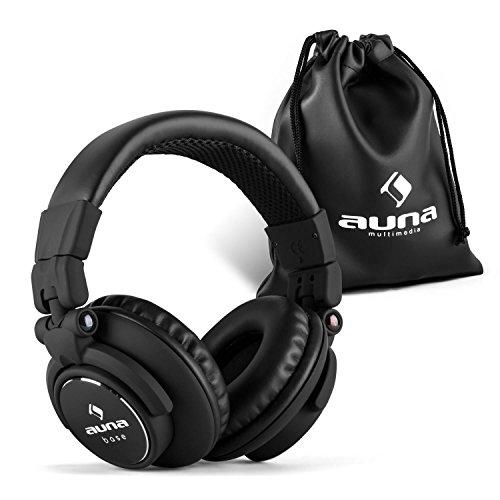 auna Base - DJ Kopfhörer, Over Ear Headphones, geschlossene Bauweise, klappbar, faltbar, 96 dB Empfindlichkeit, gepolsterter Bügel aus Edelstahl, austauschbares Kabel, schwarz