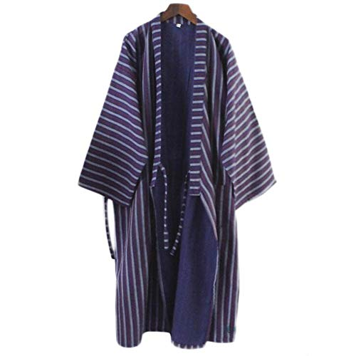 Hombres de Estilo japonés de algodón Fino Albornoz Pijamas Kimono Batas de baño Ropa de dormir-F09