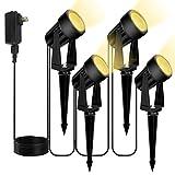 Bomcosy LEDガーデンライト アウトドア スポットライト3W IP65防水 5M延長線 4分岐 led ライト4個 照明 防犯 災害対策 風景ライト 2700K 回転可能 埋め込み式 庭 屋外 玄関 芝生 電球色