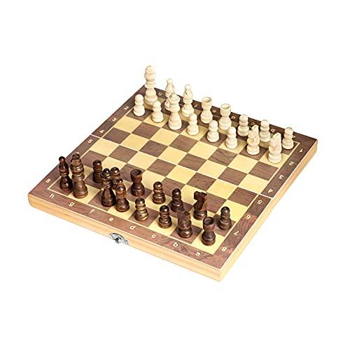 Juego de ajedrez de madera para adultos, Tablero de ajedrez portátil Juego de tablero de ajedrez magnético plegable para niños principiantes viajes Juego de piezas de ajedrez