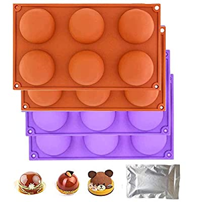 Amazon - Save 50%: 4Packs Semi Sphere Silicone Mold, Chocolate Bomb Ball Mold for Cake,…