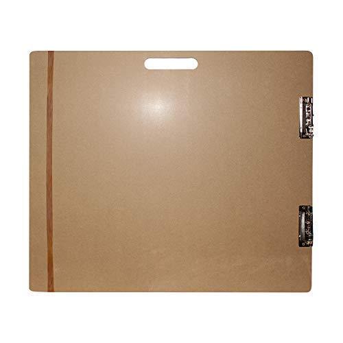 Großes Holz Zeichenbrett - Holz Sketch Board - Klemmbrett mit langem elastischem Band und Metallklemmen 66cm x H58cm - Extrafeste Künstler Palette zum Malen, Zeichnen, Sketching
