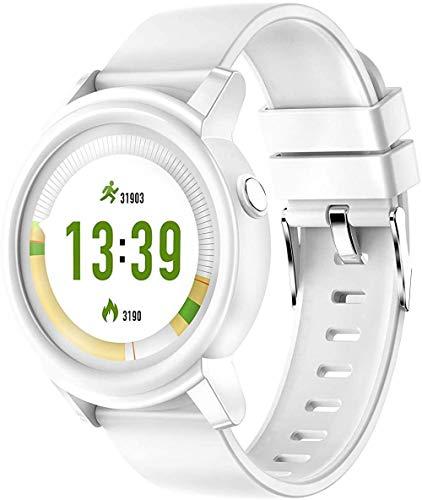 Monitor de actividad física, monitor de ritmo cardíaco, reloj con pantalla de color, contador de calorías, monitor de sueño, podómetro, reloj inteligente para niños, mujeres y hombres, color blanco