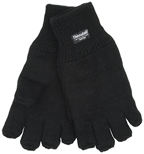 Mens Thinsulate 3M Thermal Fingerless Gloves Black L/XL GL131