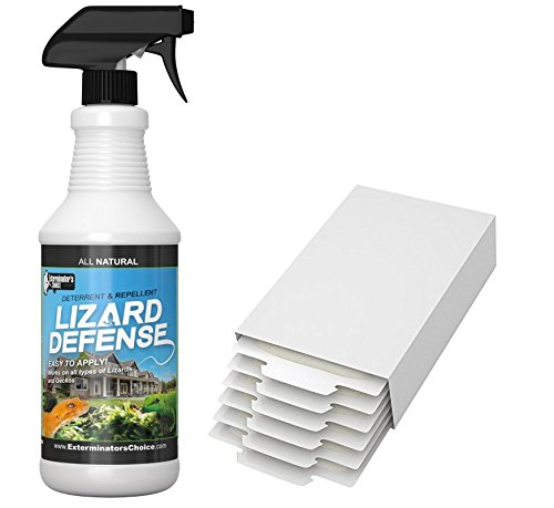 Exterminators Choice Lizard Defense Kit | 32 Ounce Spray and 6 Glue Traps | Non-Toxic Lizard Repellent | Quick and Easy Pest Control to Keep Lizards Away