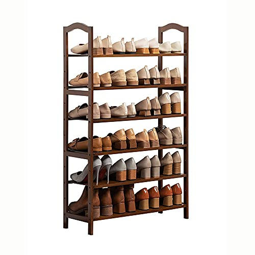 LOHOX Zapatero de Bambú de 6 Niveles Organizador de Zapatos de Entrada de Pie, Almacenamiento Estante Ajustable Mango Redondeado para Pasillo, Baño, Sala de Estar, Pasillo L50XW25XH108CM