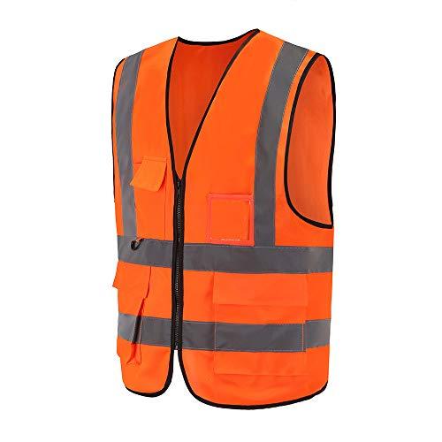 Mehrere Taschen,Mehrere Farben, Unisex hochsichtbare Warnweste Hohe Sichtbarkeit Warnweste Reflektierende Weste Reißverschluss EN ISO 20471 (M, Orange)