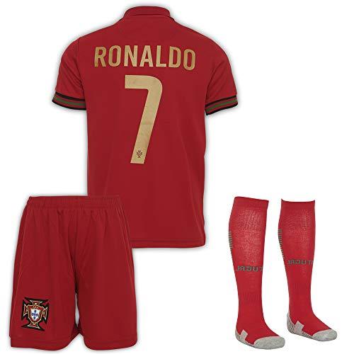 JTex Portugal 2021-20 Ronaldo - Maglietta da trasferta per bambini, con pantaloncini e calzini, taglie 2-14, 128 (4-5 Alter)