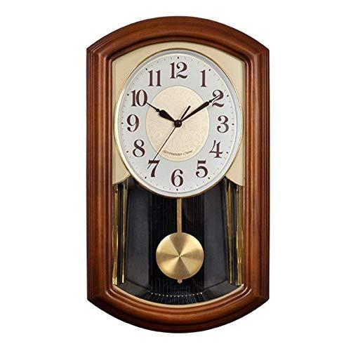zvcv Reloj de Pared péndulo carillón Vintage Alalrm Reloj de Madera sin tictac Funciona con Pilas silencioso Retro Sala de Estar Dormitorio decoración Reloj