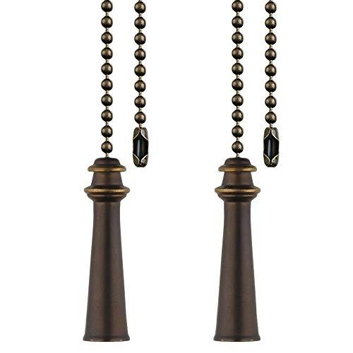 Cadena para ventilador de techo de 30,5 cm, 2 piezas con conectores de cadena de abalorios, bronce aceitado