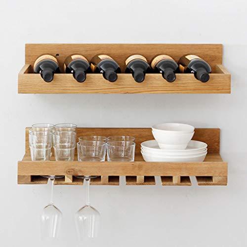 AMBH houten wijnrek eenvoudige muur opknoping beker rekken woonkamer bar keuken drank plank L20.01.27