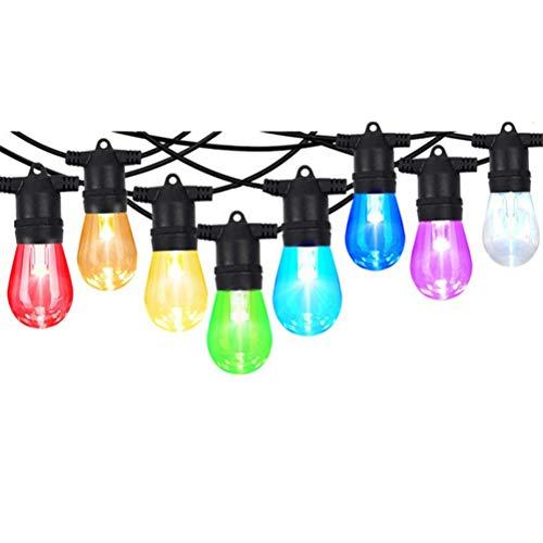 Passer Cadena de luces solares, control remoto al aire libre, luces LED que cambian de color, impermeables, bombillas LED RGB para decoración de jardín, 8,2 m