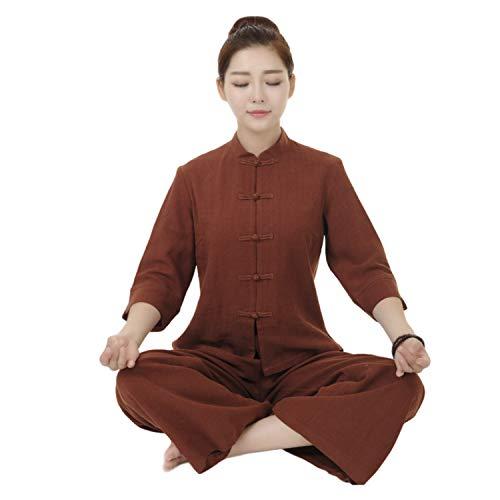 BBLAC 2KEY Artes Marciales Ropa   Mujer Traje para Tai Chi y Meditación   Tradicional Chino Uniforme   Traje Está Hecho Algodón y Lino   Ropa Vestir (Chaqueta + Pantalones) (L,C)