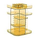 Feibrand Organizador de Maquillaje de Giratorio:Transparente Plastico Organizador de Cosméticos con Rotación 360 Grados - Ajustable Exhibición Cosmético Perfume para Tocador Dormitorio Baño | Naranja