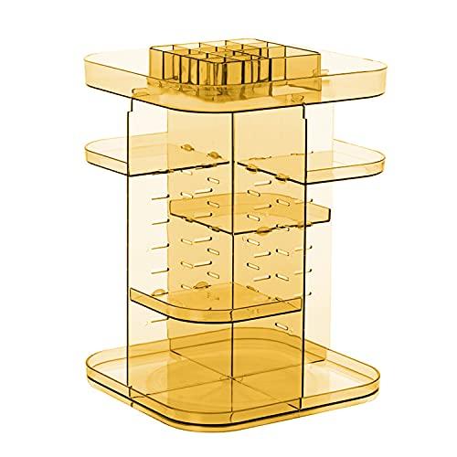 Feibrand 360 Grad Drehbar Make up Organizer, Acryl Verstellbar Multifunktions Kosmetik Aufbewahrungsbox Display Ständer für Schlafzimmer, Dresser, Badezimmer - Orange