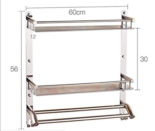 M-J 304 RVS Badkamer Racks Dual Badkamer Opslag Rack Opknoping Badkamer Stijlvolle Eenvoud Handdoek Rack Opslag Rack (Kleur: B, Maat: 50Cm), b,
