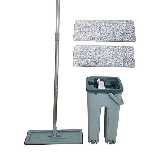Aqua Laser - Easy Flat Mop, secchio autopulente a doppio scomparto con scopa girevole e 2 salviette in microfibra