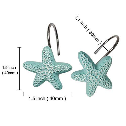 Ayygiftideas 12 PCS Blue Starfish Shower Curtain Hooks Design Fashion Decorative