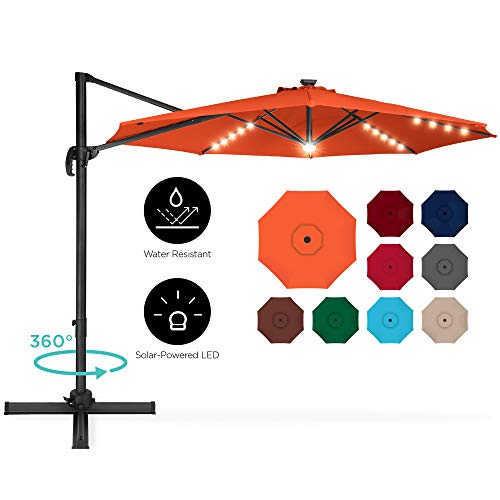 Best Choice Products 10ft 360-Degree LED Cantilever Offset Hanging Market Patio Umbrella w/Easy Tilt - Orange