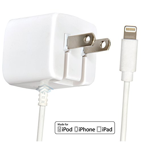 Apple Certified iPhone Lightning Charger - Wall Plug - for iPhone 11 Pro XS Max X XR XS 8 Plus 7 6S 6 5S 5 5C SE - Pins Fold - 2.1a Rapid Power - Take for Travel - White
