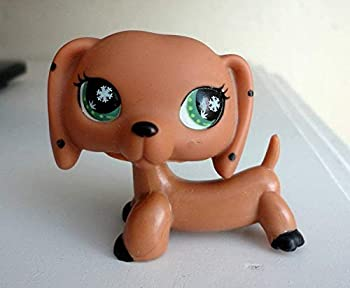 N/N Littlest Pet Shop LPS Toy Pet Brown Monopoly Spotted Dachshund Dog Snowflake Eyes