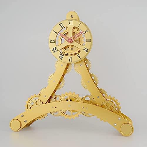 YUNLILI Estilo de Corte Mesa de Engranajes Reloj Digital Metal Negro Mesa Reloj Reloj de Escritorio Shabby Chic Vintage Relojes Mesa Gift Ideas (Color : Gold)