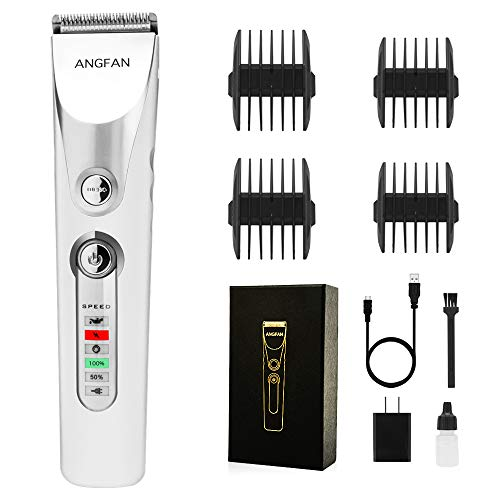 AngFan Mens Hair Trimmers, Rechargeable Hair Cutter for Men/Kids/Baby/Barber Hair Clippers, Haircut Barber Trimmer Kit, Professional Hair Clipper Kit with Guide Combs Brush Grooming Kit (White)