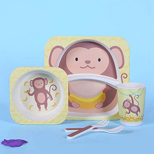 Chanety,taza de agua aislada,taza de agua Eco-Friendly Fibra de bambú Vajilla para niños Juego de cinco piezas Juego de kindergarten Bebé Hogar Lindo Dibujos animados Polvo de bambú Placa de cena taza