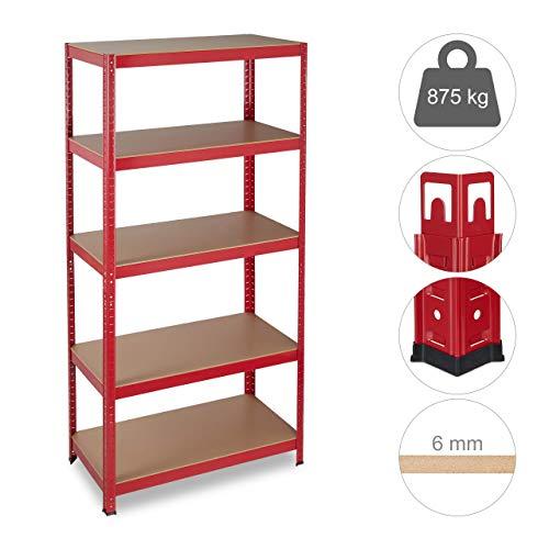 Relaxdays Schwerlastregal, Traglast 875 kg, 5 Ebenen, zum Stecken, Keller, Garage, HxBxT: 180x90x45 cm, Stahl, MDF, rot