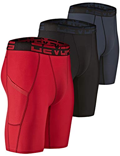 DEVOPS Men's 3 Pack Sports Performance Active Compression Cool Dry Baselayer Pocket Shorts (2X-Large, Black/Charcoal/Red)