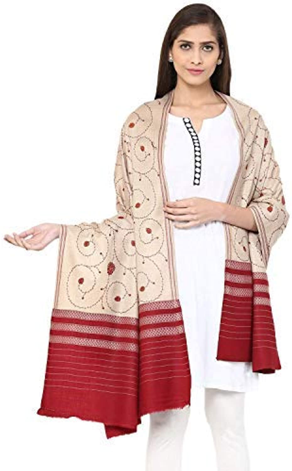 Women's Wool Shawl Jaal with Handmade Embroidery Palla (Beige, Free Size)