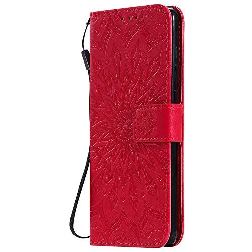 KKEIKO Hülle für Galaxy Note 10 Lite, PU Leder Brieftasche Schutzhülle Klapphülle, Sun Blumen Design Stoßfest HandyHülle für Samsung Galaxy Note 10 Lite - Rot