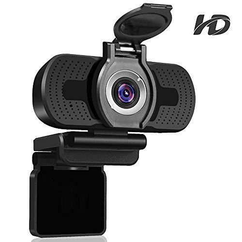 Dericam Webcam,1080p HD Webcam mit Webcam Abdeckung, USB Webcam mit eingebautes Mikrofon, Plug & Play für Desktop,Laptop,PC Kamera, ideal für Video Chat, Konferenzen und Spiel live