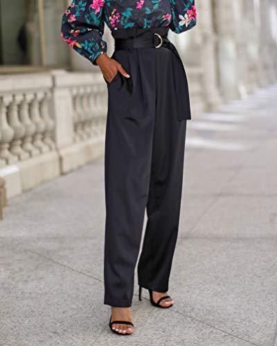 The Drop by @signedblake - Pantalón para mujer con cintura paperbag, color negro