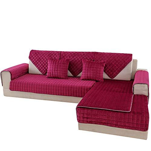 CC.Stars Funda de sillón,Fundas de sofá de Felpa Estilo para Sala de Estar, Funda de sofá 1/2/3/4 Funda de Silla de sofá de Asiento, Toalla de sofá-Red_110x180cm