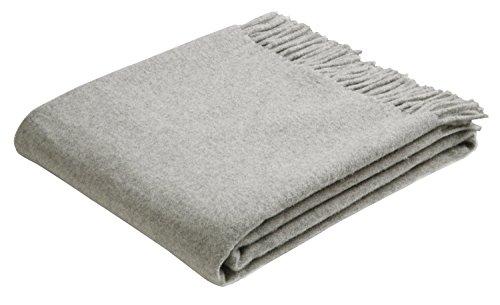 Bocasa Biederlack Plaid Britta Pure New Wool. 130 x 170 cm. Silver