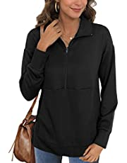 Glanzition Women's Lightweight Lapel Zipper Sweatshirts Pullovers with Pocket Long Sleeve