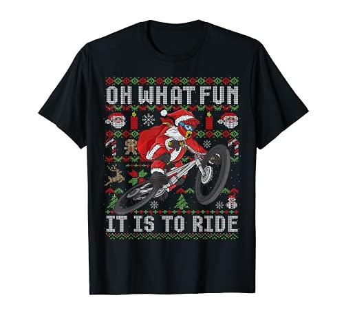 Oh ¿Qué divertido es montar bicicleta de montaña MTB fea Navidad Camiseta