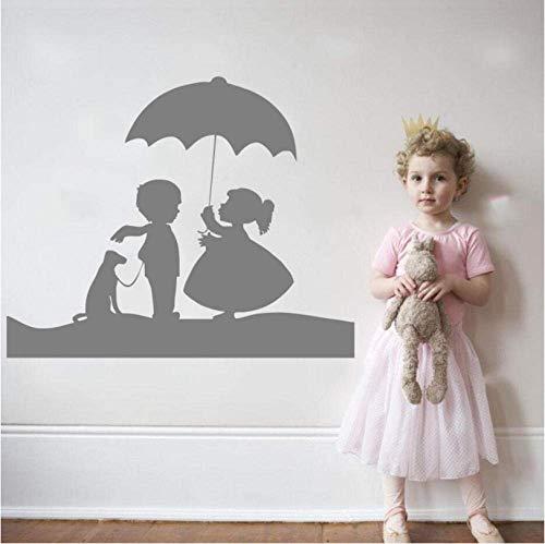 Schattig Meisje en Jongen met Hond en Paraplu Mooie Muurstickers Thuis Kinderen Kwekerij Slaapkamer Sweet Decor Muursticker Mural 56X89Cm